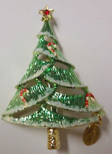 Vintage Signed B.J. Christmas Tree Enamel Candy Cane Religious Charm Pin Brooch