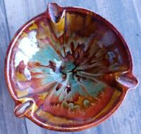 Vintage Dryden Arkansas Multicolor round footed  Earthenware Ashtray MINT