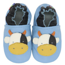 carozoo cow light blue 4-5y soft sole leather kids shoes