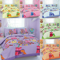 Cute Owl Duvet Covers Set With Pillow cases Cot Bed Single Double Super King
