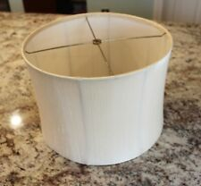 Silk Shantung Ivory Lined Modern Drum Shade Lampshade w/ Spider Fitter