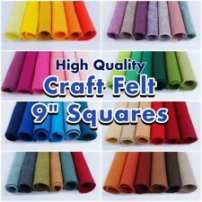 "Wool Blend Craft Felt Squares: 9"" x 9"" (23cm x 23cm) EN71 Standard 50+ Colours"