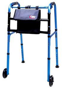 "Carex Explorer Medical Folding Travel Walker 5"" Wheels Glides Lightweight Adult"