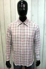 Fay Man Size L Checkered Shirt Chemise Shirt Long Sleeve Cotton Italy Logo
