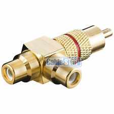 PRO RCA RED RING PHONO Y SPLITTER 1 MALE PLUG to 2 FEMALE SOCKETS ADAPTER GOLD