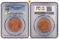 #1 Highest Graded Worldwide 1964(p) Australia Penny PCGS MS65 BN (Brown) Toned