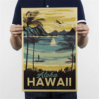 retro hawaii poster office kraft paper bar cafe home decor paint wall sticker HU