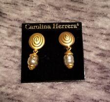 BEAUTIFUL Carolina Herrera Gold Plated & Faux Pearl Earrings