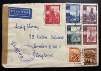 1947 Turnitz Austria Airmail Censored Cover to London England Wiener Fair Stamps