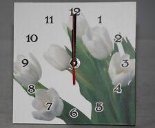 White Tulips Design Wooden Table / Desk Clock 16cm Square NEW