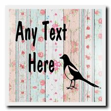 Magpie Shabby Wood Personalised Drinks Mat Coaster