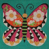 Needlepoint Handpainted Amanda Lawford GRAPHIC Butterfly 7x7