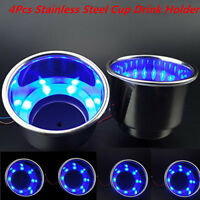 4Pcs 8LED Blue Stainless Steel Cup Drink Holder For Marine Boat Car Truck Camper