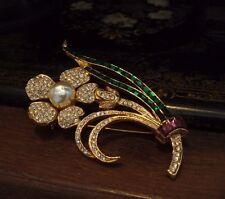 Vintage Large Flower Brooch Emerald Green & Amethyst Crystal & Pearl. Gabbana