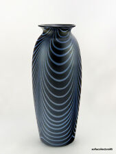 Imperial Glass Lead Luster 418 - 12 Vase Satin Blue with Opal Festoons Ca. 1925