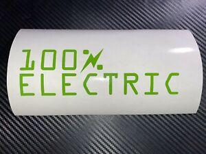 GREEN 100% ELECTRIC Car Sticker Decal EV Plug In Battery Leaf