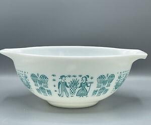 Vintage Pyrex Amish Turquoise White Butterprint #443 Cinderella Bowl 2-1/2 Qt.