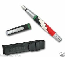 Fountain pen , stylo ,  Pluma Ducati Style  Tricolor + Funda. nueva a estrenar.