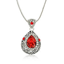 18K WHITE GOLD PLATED RED CUBIC ZIRCONIA AND CLEAR AUSTRIAN CRYSTAL NECKLACE
