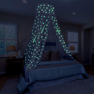 Toyvian Bed Canopy Glow in The Dark,Hanging Large Bed Tent Canopy for Kids Tent