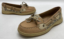 Sperry Top-Sider Angelfish Womens Tan Leather Leopard Boat Shoes Size 7.5M