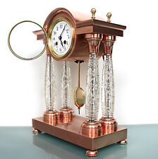 JAPY 15 Inch! Mantel TOP Clock Antique RED COPPER!/CUT CRYSTAL PILLAR Bell Chime