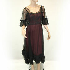 NEW NWT Nataya Plus Size Vintage Titanic Tea Party Gown Lined Overlay Dress 2X