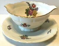 Haviland France LIMOGES Floral Gravy Sauce Boat with Attached Underplate MINT