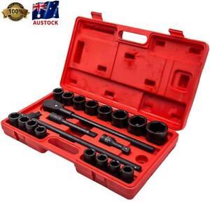 "21pcs 3/4"" 19mm-50mm Drive Deep Impact Socket Set Garage Repair Sockets Ratchets"