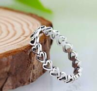STUNNING GENUINE 925 STERLING SILVER STAMPED  OPENWORK LOVE HEARTS RING,STUNNING