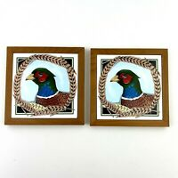 Pair Of Vintage Pelzman Design Tile Trivets Pheasant Birds Kitchen Decor