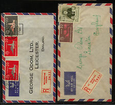 Netherlands  Antillies  2 registered covers  to England      KL0210