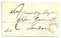 * 1825 WILTSHIRE WRAPPER SWINDON REVERSED HORSESHOE POSTMARK >CROWDY IN LONDON