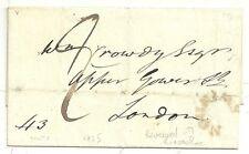 * 1825 WILTSHIRE WRAPPER SWINDON REVERSED HORSESHOE POSTMARK TO CROWDY IN LONDON