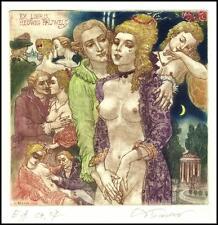 David Bekker 2000 Exlibris C4 Casanova Erotic Nude Nudo Erotik Voman 738