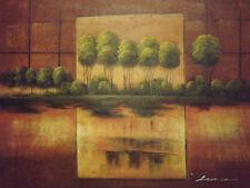 Astratto Verde Marrone Foresta Alberi Grande dipinto a olio su tela paesaggio moderno