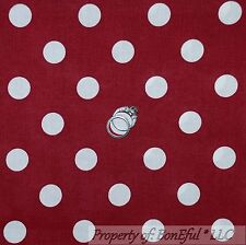 BonEful Fabric FQ Cotton Brick Red Maroon White POLKA DOT Alabama BAMA Xmas USA