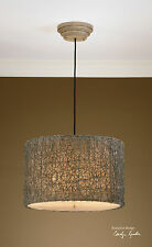 MID CENTURY KNOTTED RATTAN HANGING PENDANT SHADE CEILING LIGHT FIXTURE