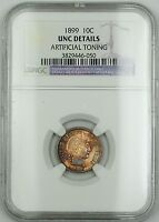1899 Barber Silver Dime NGC UNC Details Artificial Toning (Very Choice Coin) RF