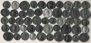 51 ANCIENT ROMAN COINS (COPPERS & A FEW SILVERS >> EXCELLENT LOT !!) NO RESERVE