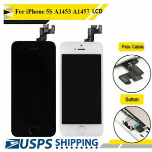 For iPhone 5S LCD Touch Front Screen Replacement Digitizer w/ Home Button Camera