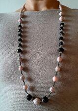 4b7a3235b857e1 Collana donna pietre dure naturali: rosa rodonite, ematite, mezzi cristalli  jet