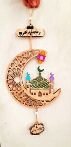 New Ramadan Kareem Moon CNC Wood Hanging Home Room Decor Handmade Painted