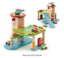 NEW Wooden Toy 2 Level Car Parking Garage w/ Cars, Helicopter, Lift, Petrol Pump