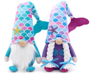 Mermaid Gnome Couple Summer Tomte Plush Farmhouse Beach Elf Dwarf Mermaid Tail..