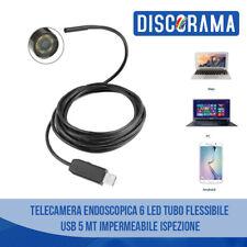 TELECAMERA ENDOSCOPICA 6 LED TUBO FLESSIBILE USB 5 METRI IMPERMEABILE ISPEZIONE