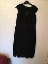 Next Petite Black Lace Shift Dress, Size 12