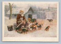 1960 FEED PUPPIES Russian Peasant Borzoi by Stepanov Art Vintage Postcard