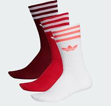 mens Adidas originals Socks 3 Stripes Crew 3 Pairs white women UK 8.5-11 NEW