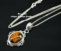 STERLING SILVER & AMBER PENDANT LOVELY FANCY OVAL DESIGN NICE QUALITY VINTAGE